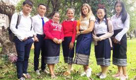 Greetings from Laos! VSUES teacher Valeriia Petoyan teaches Laotian students Russian language